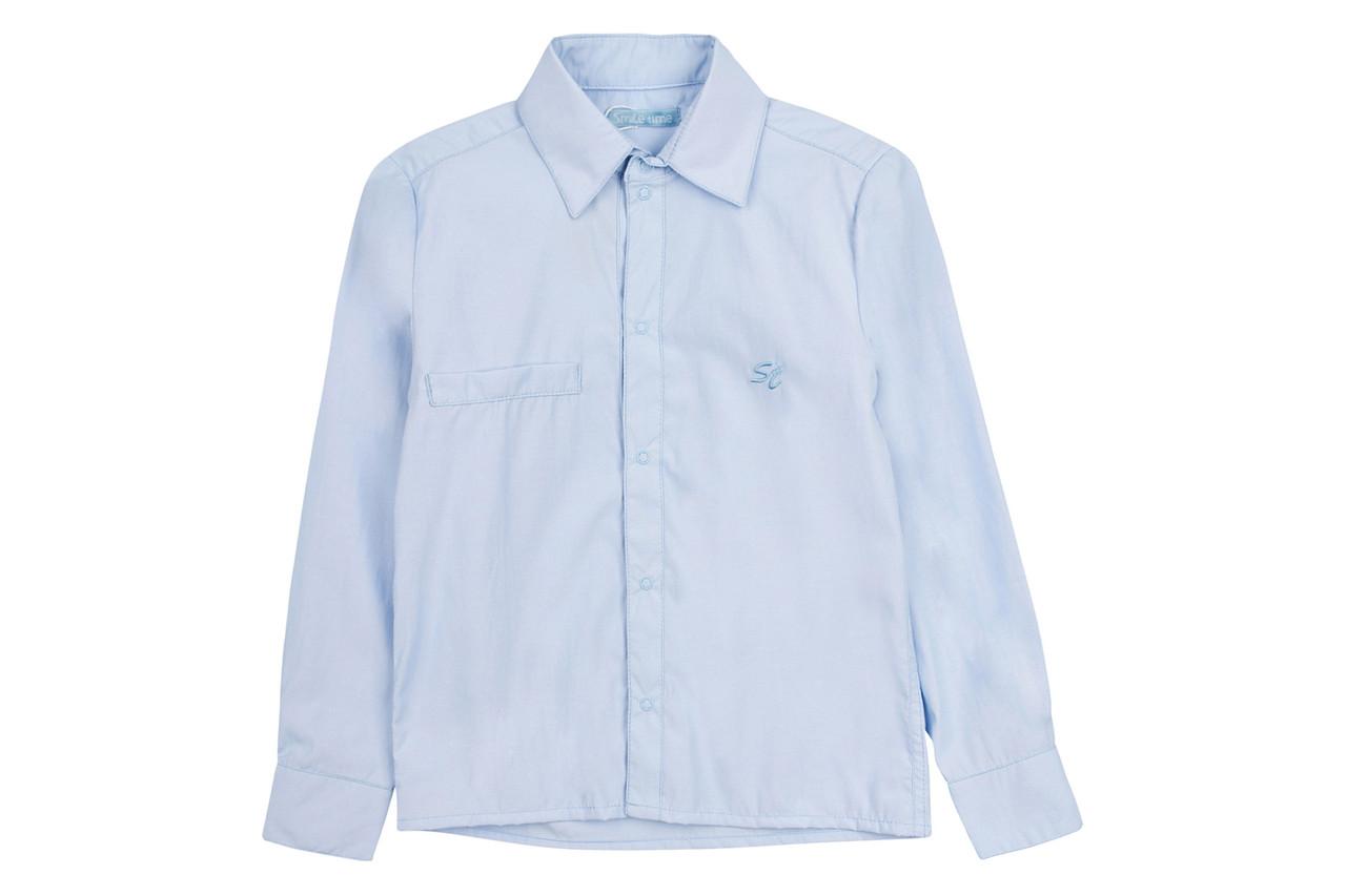 Рубашка детская на кнопках с длинным рукавом SmileTime Полоса синяя