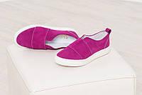 Слипоны мокасины балетки женские цвет фуксия замшевые качественная обувь весна лето 2019