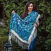 """Молочна хустина з синіми квітами """"Георгіна"""" (120х120 см, молочний, 80%-шерсть)"""