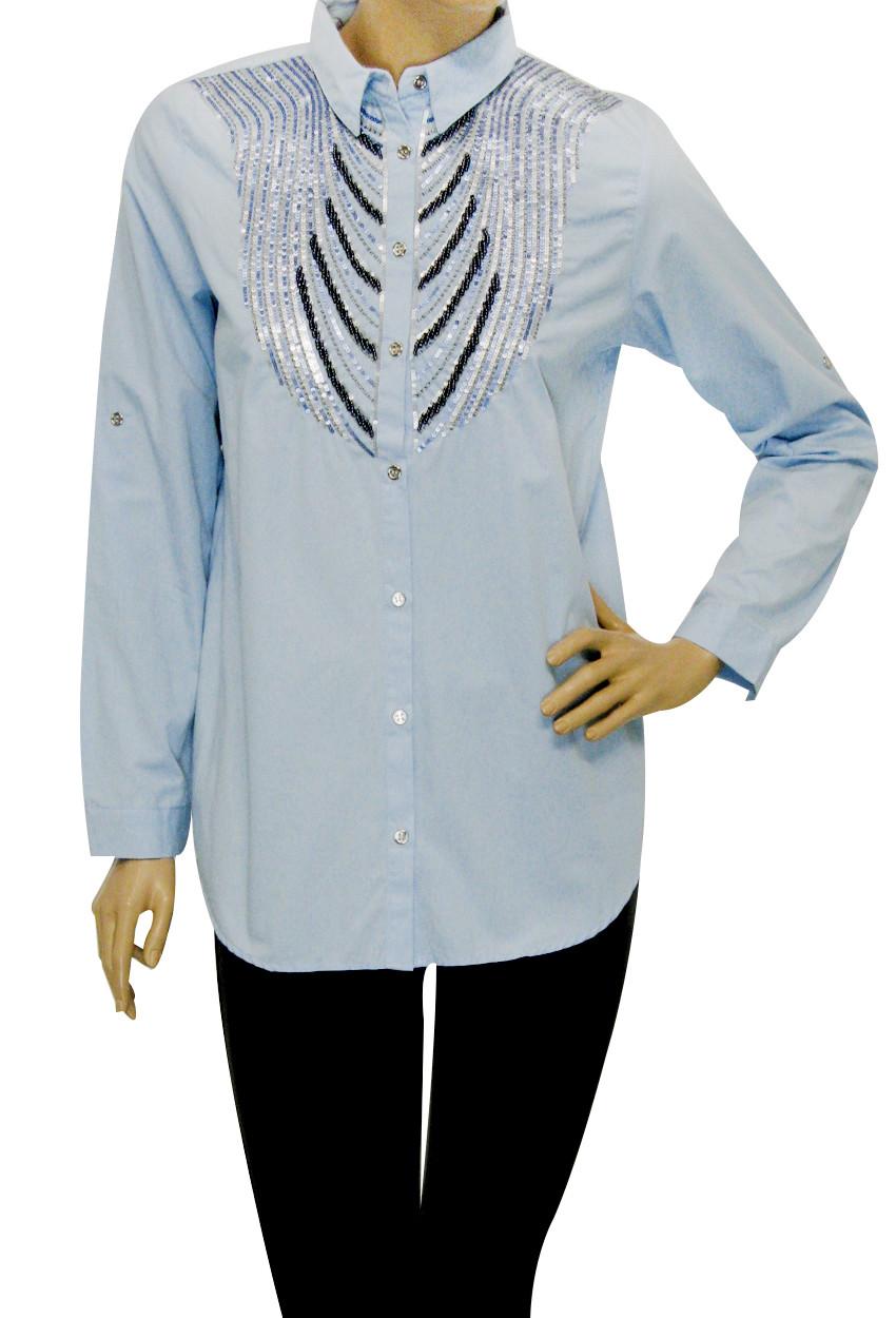 Жіноча сорочка штапель з вишивкою із паєток