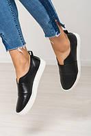 Удобная обувь мокасины балетки женские натуральная кожа гладкая черный цвет