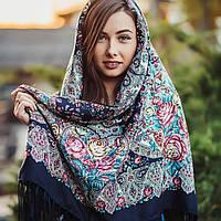 Шикарный павлопосадский платок для девушки (120х120 см, синий, 80%-шерсть)