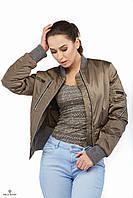 Куртка бомбер ML атласная плащевка металлик капучино