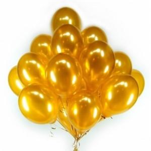 Фонтан из шаров с гелием Золотых(металлик) 30 см. 20 шт., фото 1