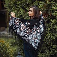 Оригинальный женский платок черного цвета (120х120 см, черный, 80%-шерсть)