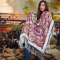 Нежный павлопосадский платок для девушки (120х120 см,  белый, 80%-шерсть), фото 1
