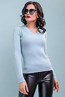 Женская вязаная кофта пуловер с v-образным вырезом 42-48 размера голубая