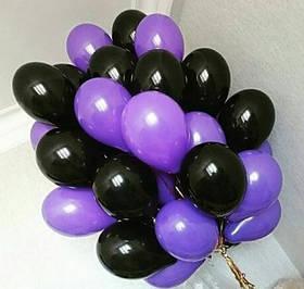 Фонтан из шаров с гелием Чёрных и Фиолетовых Пастель 30 см. 20 шт.