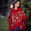 Павлопосадська хустина гарного червоного кольору (140*140 см, темно-червоний, 80% шерсть)