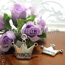 """Подвеска  """"Коронка  """"Принцесса"""", серебро, 16 х 18 мм"""
