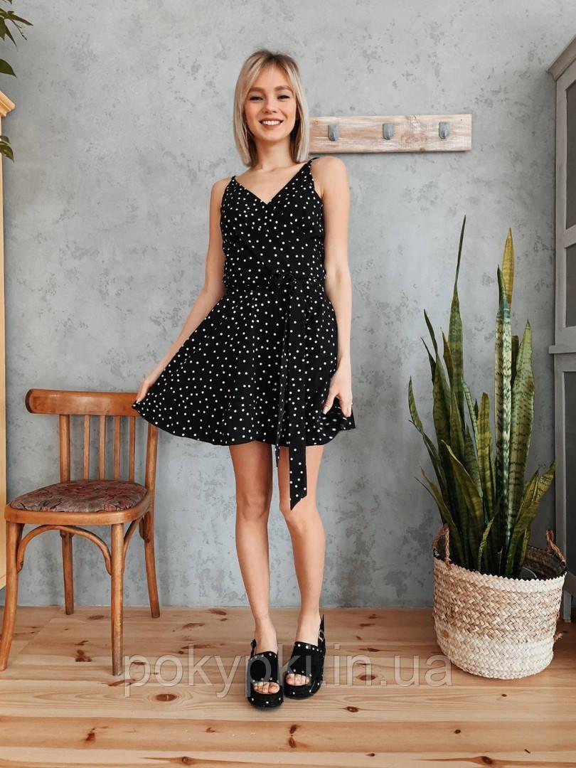 fb6e1ea8658 Легкое женское летнее платье сарафан короткое с пояском на бретельках  черное в белый горох -