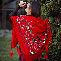 Яркий павлопосадский платок красного цвета (140*140 см, красный, 80% шерсть)