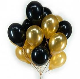 Фонтан из шаров с гелием Чёрных Пастель и Золото Металлик 30 см. 20 шт.
