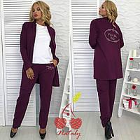 Женский стильный костюм тройка кардиган+брюки+футболка трикотаж декор аппликацией из камней размер:50-52,54-56