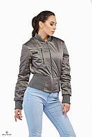 Куртка бомбер ML атласная плащевка металлик серая
