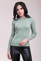 Женский джемпер гольф с люрексом 42-48 размера светло-зеленый, фото 1