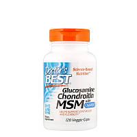 Глюкозамин, хондроитин и МСМ с OptiMSM, Doctor's Best (120 растительных капсул)