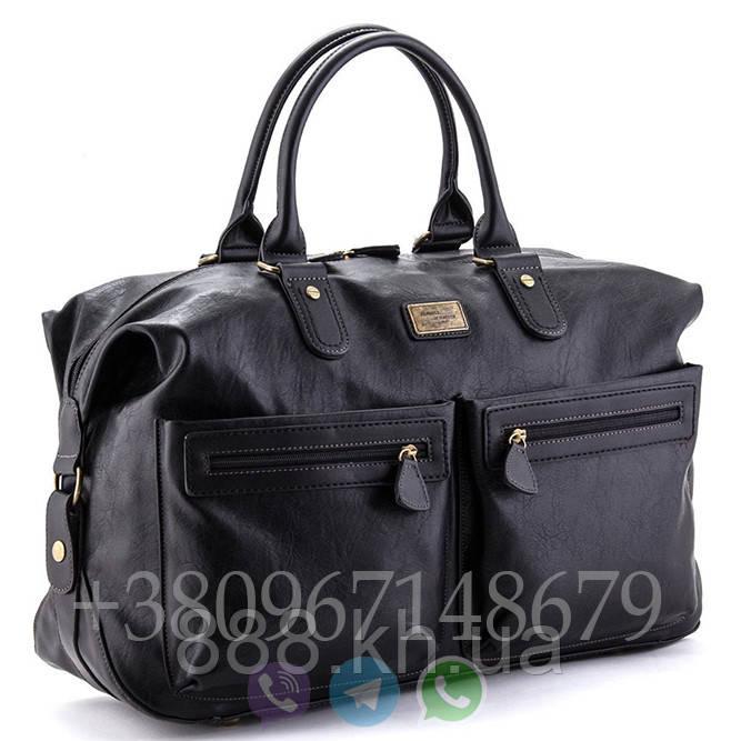 Мужская сумка David Jones black 3553, дорожная сумка для командировок, кожаная сумка для поездок