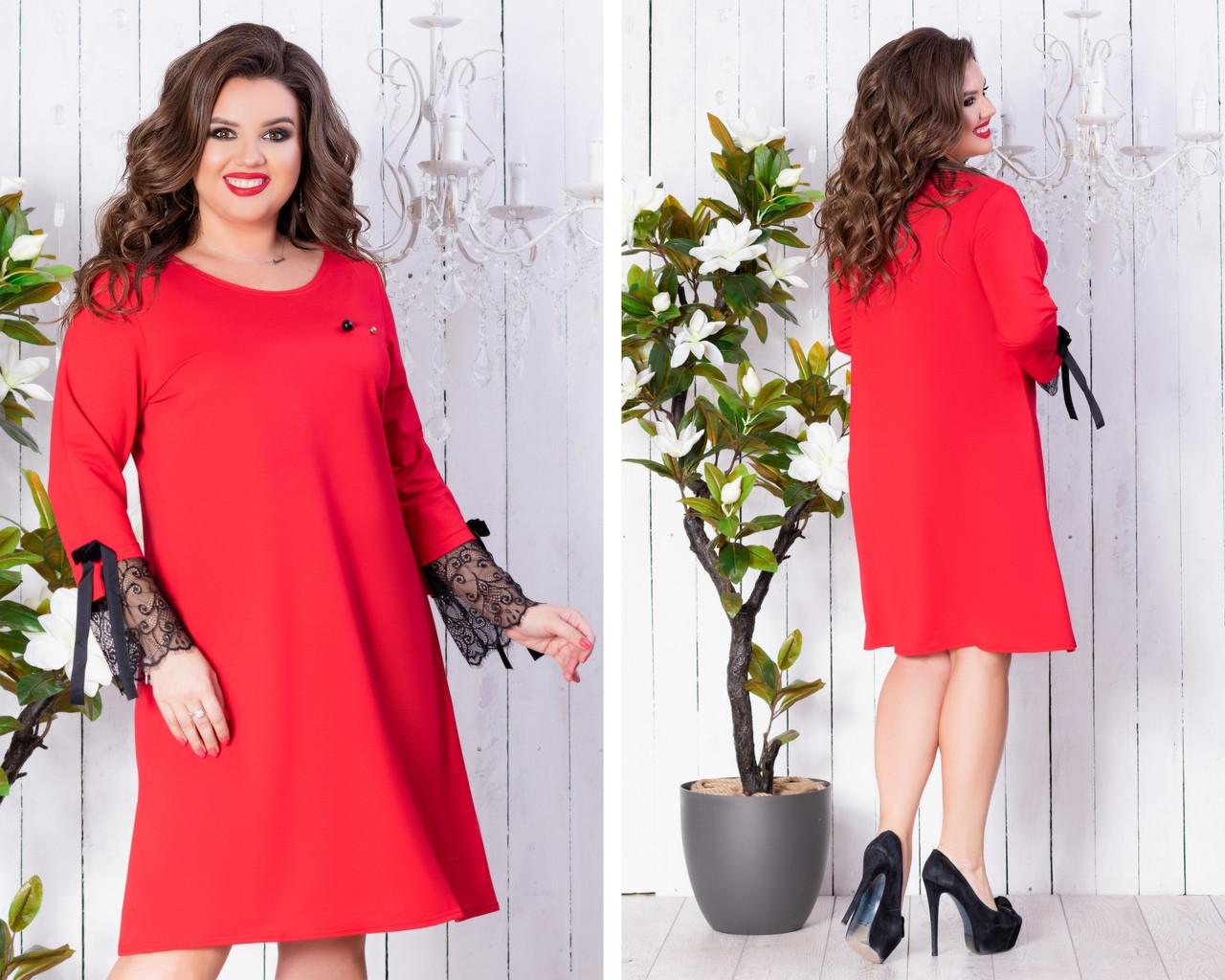 6051499f3be Женское нарядное платье свободного фасона трикотаж декор кружево размер 46 -48