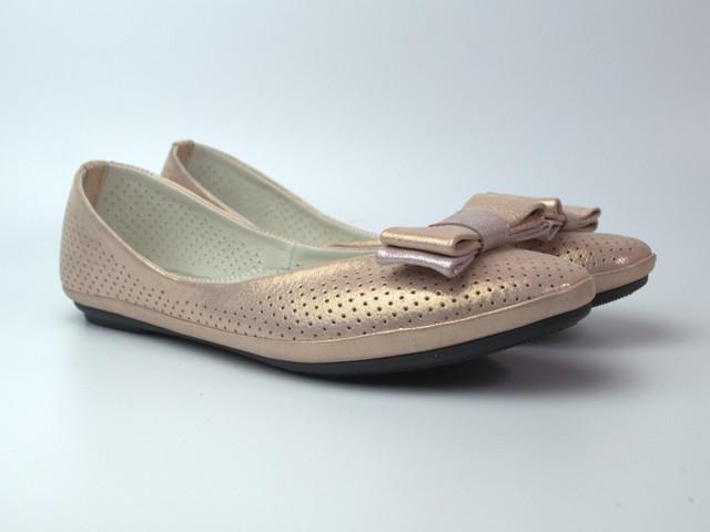 """Балетки золотистые летние кожаные женская обувь Scarbat V Saffron Perl Perf Leather by Rosso Avangard """"Шафран"""""""
