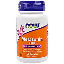 """Мелатонин NOW Foods """"Melatonin"""" здоровый цикл сна, 3 мг (60 капсул)"""