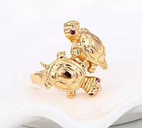 Кольцо Черепашки с рубиновыми глазами 17, 17,5 размер, медзолото, медицинское золото,XP, 18К