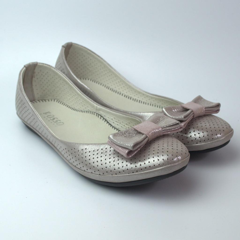 """Балетки пастельно розовые летние кожаные женская обувь Scarbat V Pastel Pink Perl Perf Leather """"Блаш"""""""