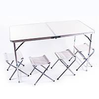 "Стол туристический, алюминий, пластик ""бамбук"", 4 стула, 120х60х70/55cm"