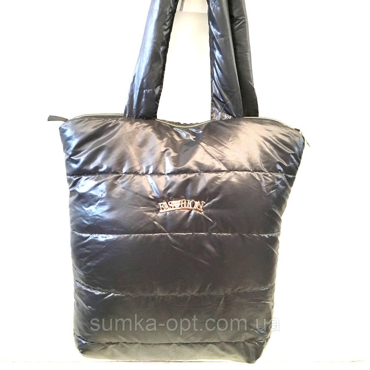 Жіночі стьобані сумки дешево опт до 100грн (чорний глянець)31*35см