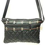 Жіночі стьобані сумки дешево опт до 100грн Chanel (чорний)16*23см, фото 4