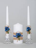 Свадебные свечи в стиле рустик в синем цвете