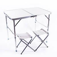 Стол туристический, алюминий, пластик, 2 стула, 90*60*70/55cm