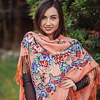 Нежный коралловый платок для девушек (135х135 см, коралловый, 80%-шерсть)