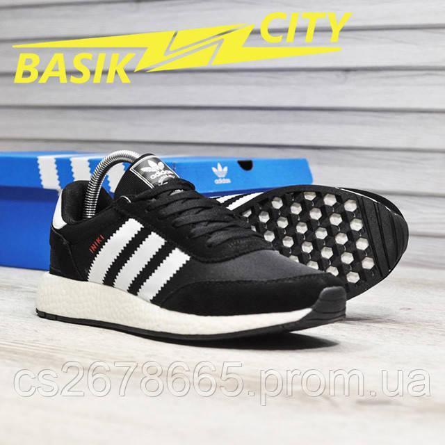 Мужские кроссовки Adidas Iniki Black White Red картинка