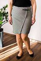 """Юбка летняя трендовый принт """"клетка"""" в сочетании с ультра-модным фасоном юбки, р-р.50 Код 1124М"""