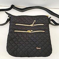Стеганные женские сумки на плечо (черный+золото)23*24см