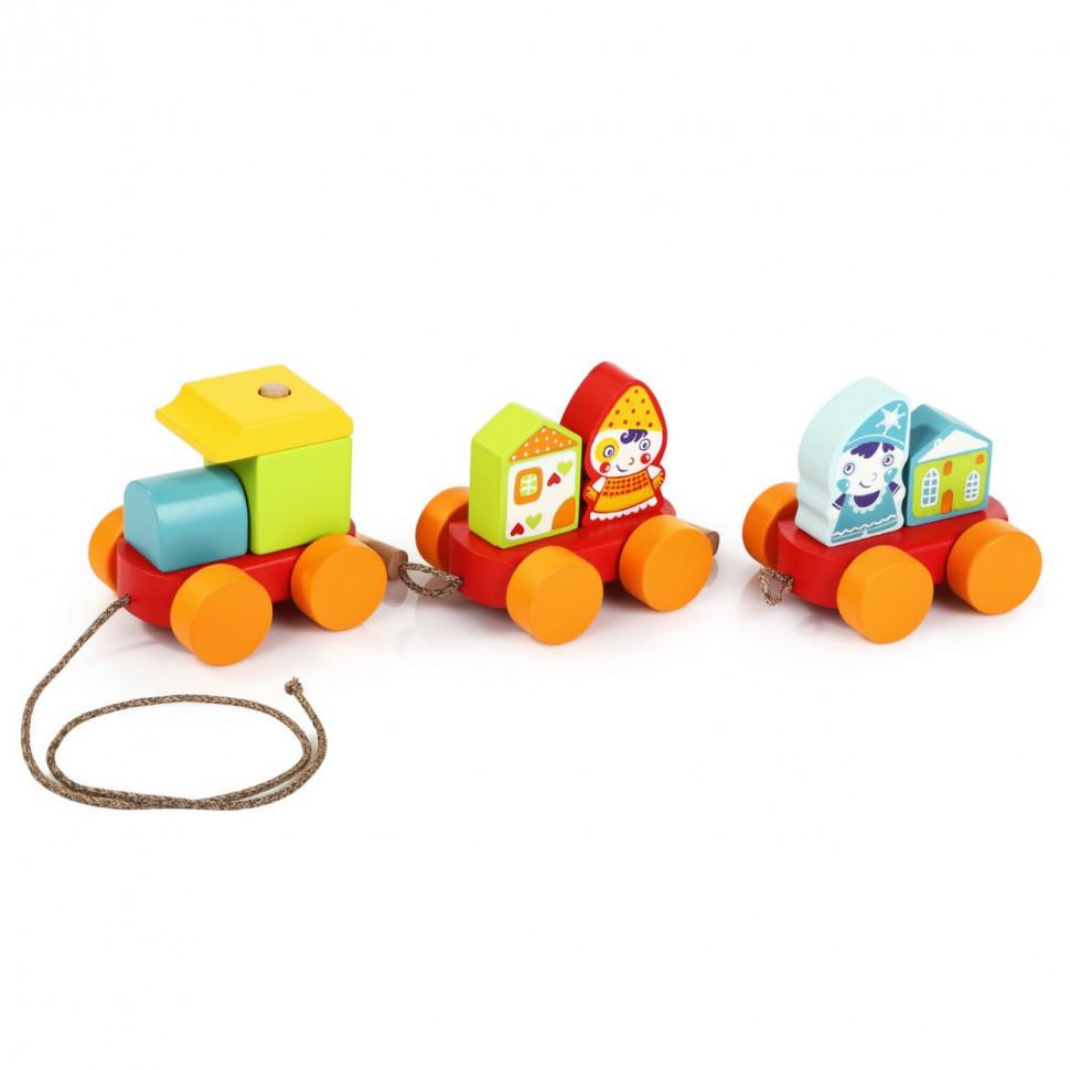 """Поїзд """"Казковий"""". Дерев'яна розвиваюча іграшка Cubika"""
