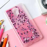Чехол Glitter для Meizu M6 бампер Жидкий блеск сердце Розовый