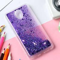 Чехол Glitter для Meizu M6 бампер Жидкий блеск фиолетовый