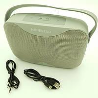 Беспроводная аккумуляторная колонка Bluetooth акустика FM MP3 AUX USB Hopestar H35 серая