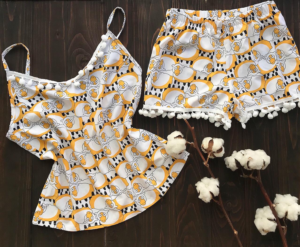 Пижама шорты и майка L-XL барашки
