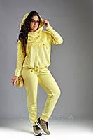 Женский стильный спортивный костюм кофта+штаны двухнить декор гипюр х/б размер:48-50, 52-54, 56, 58-60, 62