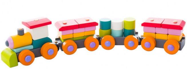 Поїзд LP-1. Дерев'яна розвіваюча іграшка  Cubika