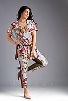 Женский костюм двойка блуза+штаны укороченные супер софт стрейч принт цветы размер:50,52,54,56