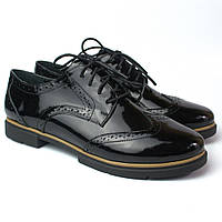 Туфли оксфорды кожа лак женская обувь Sei un mio Black Lack Leather by Rosso Avangard, фото 1