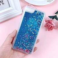 Чехол Glitter для Iphone 6 Plus / 6s Plus Бампер Жидкий блеск синий