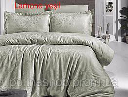 """Комплект постельного белья ALTINBASAK Сатин Deluxe """"Lamone yesil"""" Полуторный"""