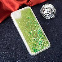 Чехол Glitter для Iphone 6 Plus / 6s Plus Бампер Жидкий блеск салатовый, фото 1