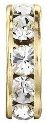 Разделители для бусин Preciosa (Чехия) 8 мм Crystal/золото