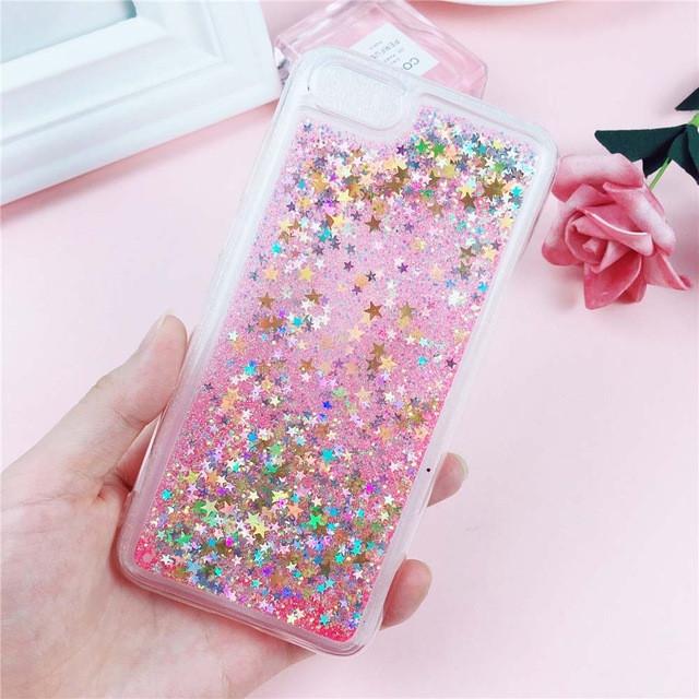 Чехол Glitter для Iphone 5 / 5s Бампер Жидкий блеск звезды розовый